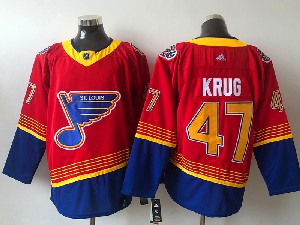 Mens Nhl St.louis Blues #47 Torey Krug Red 2021 Reverse Retro Alternate Adidas Jersey
