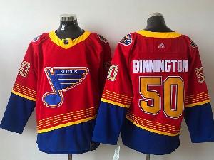 Mens Nhl St.louis Blues #50 Jordan Binnington Red 2021 Reverse Retro Alternate Adidas Jersey