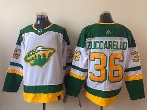 Mens Nhl Minnesota Wild #36 Mats Zuccarello White 2021 Reverse Retro Alternate Adidas Jersey