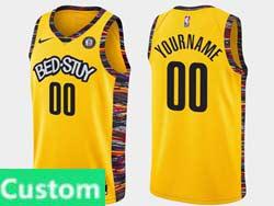Mens Women Youth Nba Brooklyn Nets Custom Made Bed-stuy Yellow Earned Edition Spread Love Nike Swingman Jersey