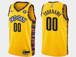 Mens Nba Brooklyn Nets Blank Bed-stuy Yellow Earned Edition Spread Love Nike Swingman Jersey