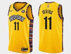 Mens Nba Brooklyn Nets #11 Kyrie Irving Bed-stuy Yellow Earned Edition Spread Love Nike Swingman Jersey