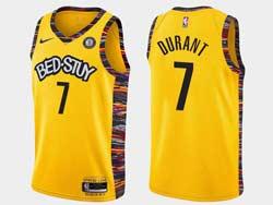 Mens Nba Brooklyn Nets #7 Kevin Durant Bed-stuy Yellow Earned Edition Spread Love Nike Swingman Jerseyy
