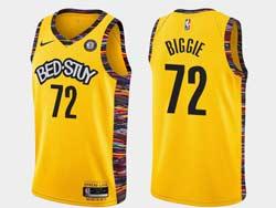 Mens Nba Brooklyn Nets #72 Biggie White Bed-stuy Yellow Earned Edition Spread Love Nike Swingman Jersey