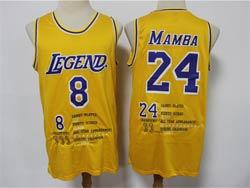 Mens Nba Los Angeles Lakers #8&24 Kobe Bryant Mamba Yellow All Star Champion Games Played Jersey