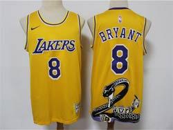 Mens Nba Los Angeles Lakers #8 Kobe Bryant Mamba Yellow Big Snake Mitchell&ness Hardwood Classics Jersey