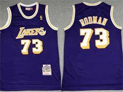 Mens Nba Los Angeles Lakers #73 Dennis Rodman Purple Mitchell&ness Hardwood Classics Swingman Jersey