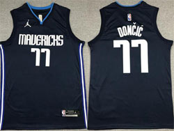 Mens Nba Dallas Mavericks #77 Luka Doncic Dark Blue Jordan Jersey