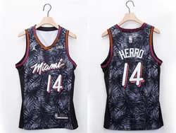 Mens Nba Miami Heat #14 Tyler Herro White Fashion Edition Jordan Patch Swingman Jersey