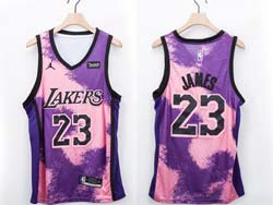 Mens Nba Los Angeles Lakers #23 Lebron James Purple Fashion Edition Jordan Patch Swingman Jersey