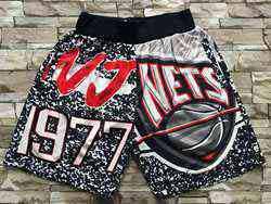 Mens Nba Brooklyn Nets Black Mitchell&ness Hardwood Classics Nets Patch Pocket Shorts