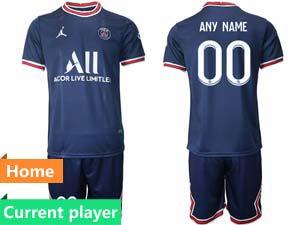 Mens Kids 21-22 Soccer Paris Saint Germain Current Player Blue Home Short Sleeve Suit Jersey