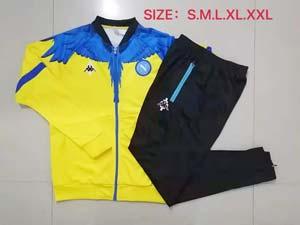 Mens 21-22 Kappa Soccer Club Napoli Yellow Black Jacket And Black Sweat Pants Training Suit