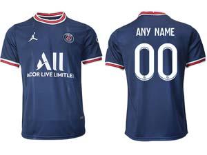 Mens Women 21-22 Soccer Paris Saint Germain Custom Made Blue Home Thailand Short Sleeve Jersey