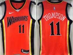 Mens Nba Golden State Warriors #11 Klay Thompson Orange Nike Swingman Jersey