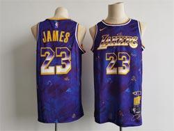 Mens Nba Los Angeles Lakers #23 Lebron James Purple Mvp Rookie Of The Year Series Jersey