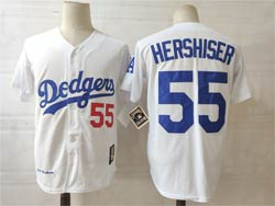 Mens Mlb Los Angeles Dodgers #55 Hershiser White Throwbacks Flex Base Jersey