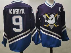 Mens Nhl Anaheim Mighty Ducks #9 Paul Kariya Purple Reverse Retro C Patch Jersey