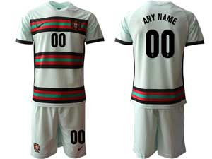 Mens Soccer Portugal National Team Custom Made Away White 2021 European Cup Short Sleeve Suit Jersey