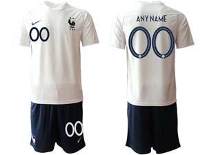 Mens Kids Soccer France National Team Custom Made Eurocup 2021 Away Short Sleeve Suit