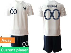 Mens Kids Soccer France National Team Current Player Eurocup 2021 Away Short Sleeve Suit