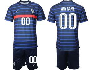 Mens Kids Soccer France National Team Custom Made Eurocup 2021 Home Short Sleeve Suit