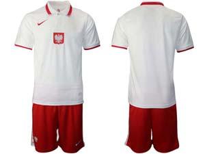 Mens Soccer Poland Nation Team Custom Made White Eurocup 2021 Home Short Sleeve Suit
