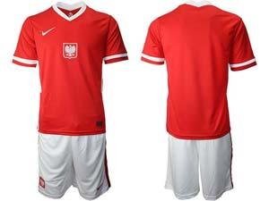 Mens Soccer Poland Nation Team Custom Made Red Eurocup 2021 Away Short Sleeve Suit