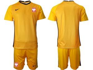 Mens Kids Soccer Poland Nation Team Custom Made Eurocup 2021 Goalkeeper Short Sleeve Suit