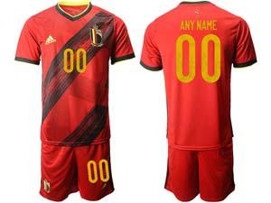 Mens Kids Soccer Belgium National Team Custom Made Red Eurocup 2021 Home Short Sleeve Suit