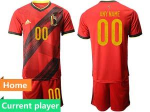 Mens Kids Soccer Belgium National Team Current Player Red Eurocup 2021 Home Short Sleeve Suit