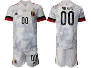 Mens Soccer Belgium National Team Custom Made White Eurocup 2021 Away Short Sleeve Suit