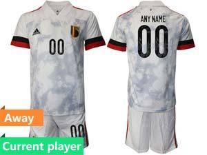 Mens Soccer Belgium National Team Current Player White Eurocup 2021 Away Short Sleeve Suit
