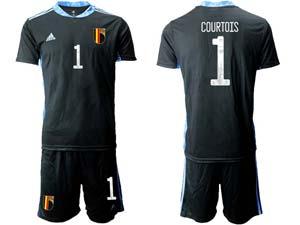 Mens Kids Soccer Belgium National Team Custom Made Eurocup 2021 Goalkeeper Short Sleeve Suit
