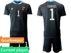 Mens Kids Soccer Belgium National Team Current Player Eurocup 2021 Goalkeeper Short Sleeve Suit