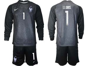 Mens Soccer France National Team Custom Made Eurocup 2021 Goalkeeper Long Sleeve Suit Jersey