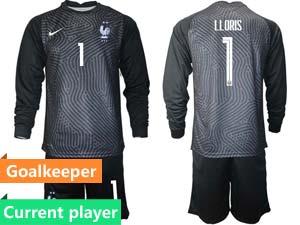 Mens Soccer France National Team Current Player Eurocup 2021 Goalkeeper Long Sleeve Suit Jersey