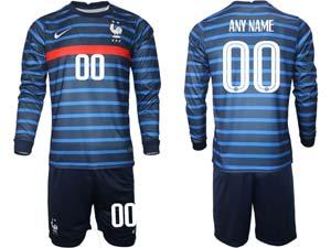 Mens Soccer France National Team Custom Made Blue Eurocup 2021 Home Long Sleeve Suit Jersey