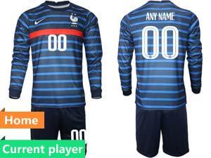 Mens Soccer France National Team Current Player Blue Eurocup 2021 Home Long Sleeve Suit Jersey