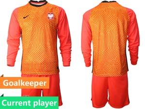 Mens Soccer Poland Nation Team Custom Made Eurocup 2021 Goalkeeper Long Sleeve Suit Jersey