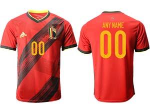 Mens Soccer Belgium National Team Custom Made Red Eurocup 2021 Home Thailand Short Sleeve Jersey