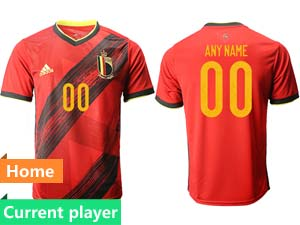 Mens Soccer Belgium National Team Current Player Red Eurocup 2021 Home Thailand Short Sleeve Jersey