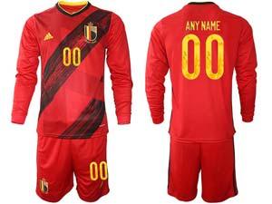 Mens Soccer Belgium National Team Custom Made Red Eurocup 2021 Home Long Sleeve Suit Jersey