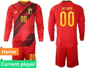Mens Soccer Belgium National Team Current Player Red Eurocup 2021 Home Long Sleeve Suit Jersey