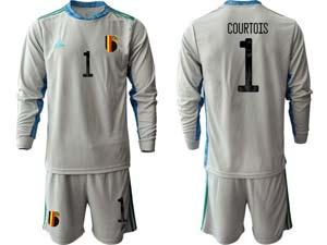 Mens Soccer Belgium National Team Custom Made Eurocup 2021 Goalkeeper Long Sleeve Suit Jersey