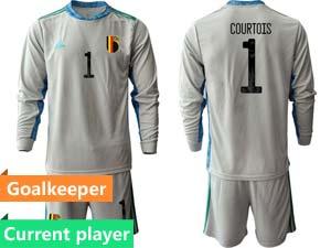 Mens Soccer Belgium National Team Current Player Eurocup 2021 Goalkeeper Long Sleeve Suit Jersey