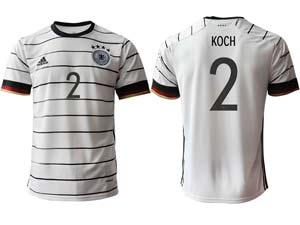 Mens Soccer Germany Ntaional Team Custom Made White 2021 European Cup Home Thailand Short Sleeve Jersey