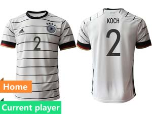 Mens Soccer Germany Ntaional Team Current Player White 2021 European Cup Home Thailand Short Sleeve Jersey