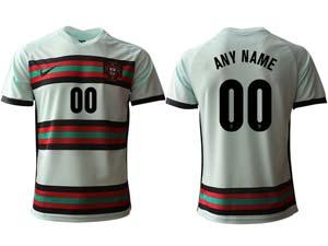Mens Soccer Portugal National Team Custom Made White Away 2020 European Cup Thailand Short Sleeve Jersey