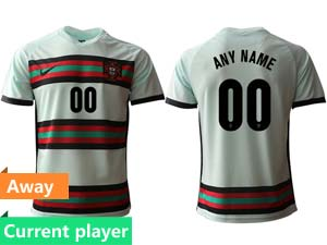 Mens Soccer Portugal National Team Current Player White Away 2020 European Cup Thailand Short Sleeve Jersey